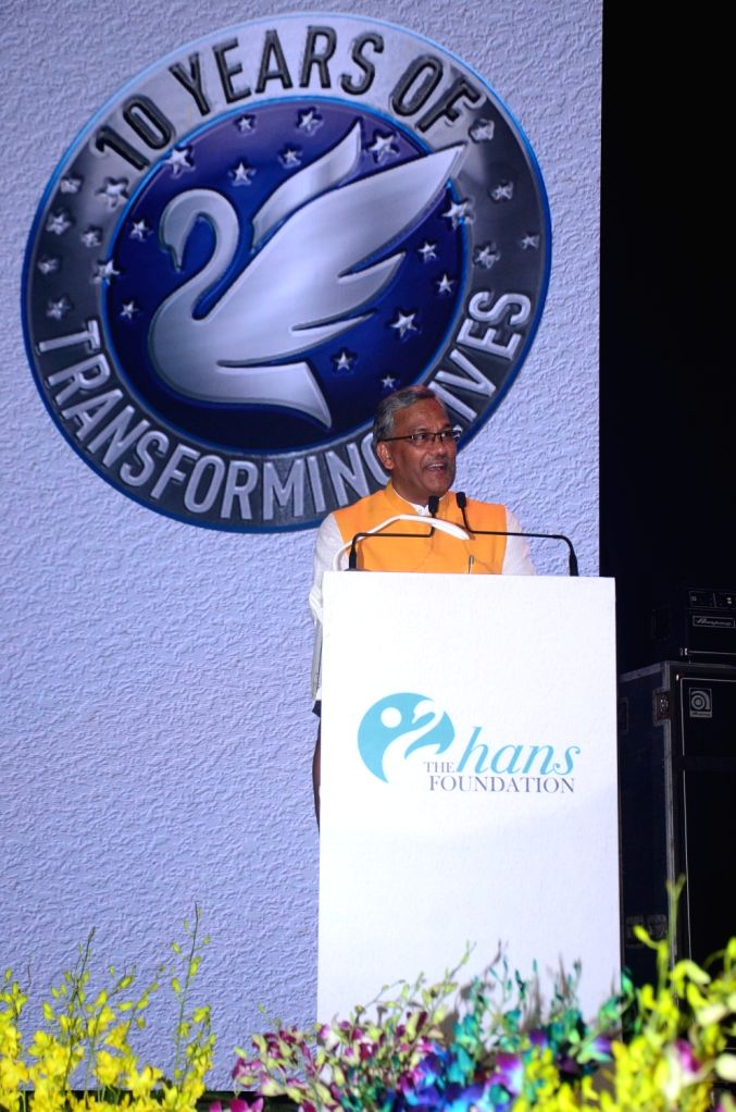 Uttarakhand Chief Minister Trivendra Singh Rawat addresses during the Hans Foundation's 10th anniversary celebrations in New Delhi on Nov 3, 2019. - Trivendra Singh Rawat