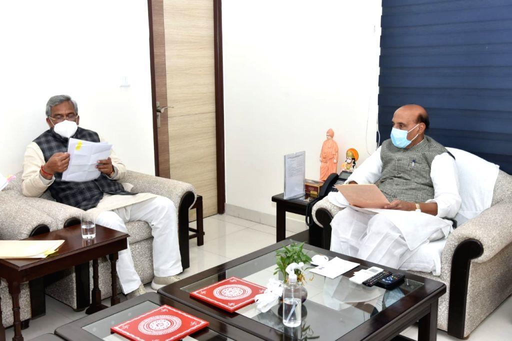 Uttarakhand CM Trivendra Singh Rawat meets Defence Minister Rajnath Singh and Railway Minister Piyush Goyal - Rajnath Singh and Trivendra Singh Rawat