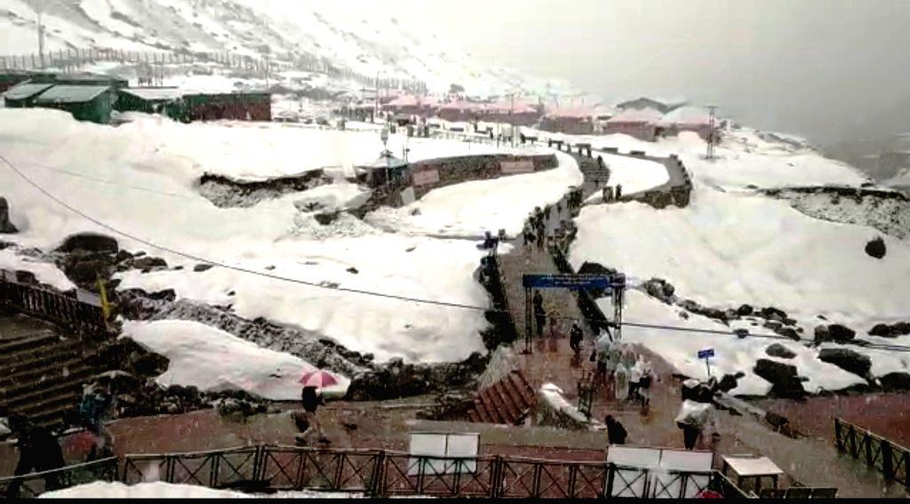 Uttarakhand's Kedarnath receives fresh snowfall on May 11, 2019.