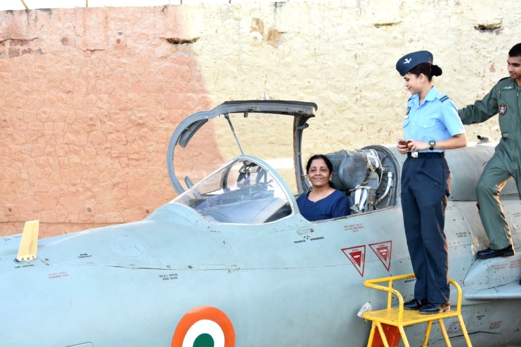 Uttarlai (Rajasthan): Union Defence Minister Nirmala Sitharaman in the MIG-21 Bison cockpit during her visit to Air Force Station at Uttarlai in Rajasthan on Sept. 10, 2017. - Nirmala Sitharaman