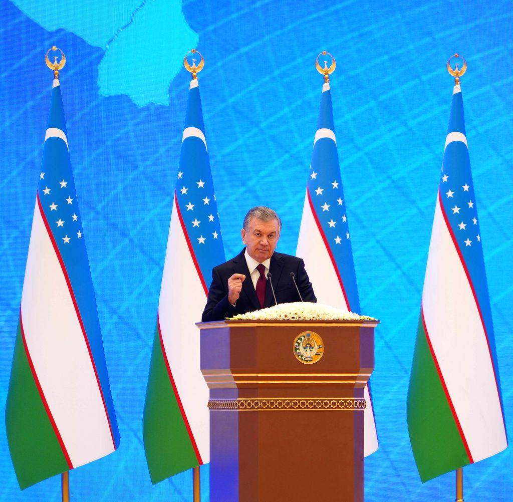 Uzbek President Shavkat Mirziyoyev delivers an address to the Uzbek Parliament in Tashkent, Uzbekistan, Jan. 24, 2020. Shavkat Mirziyoyev has declared 2020 the ...