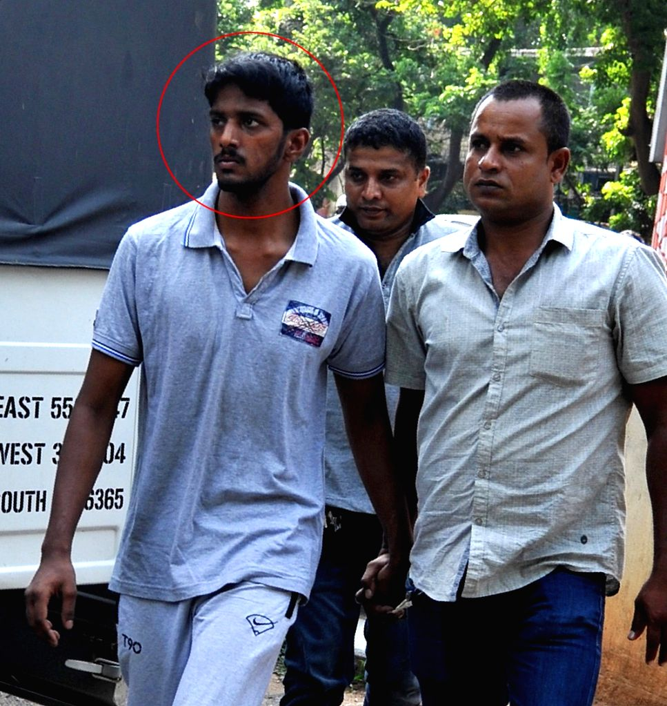 V Nagaraj's son Shastri being taken to be produced at City Civil Court at Mayo Hall , in connection with a money laundering case in Bengaluru on May 22, 2017.