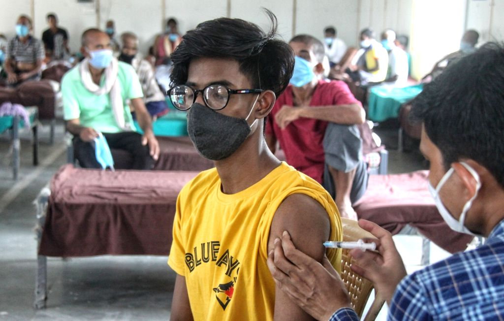 Vaccination shots for Homeless peoples at a Shelter home Nigambodh ghat in New Delhi on Friday June 25, 2021.
