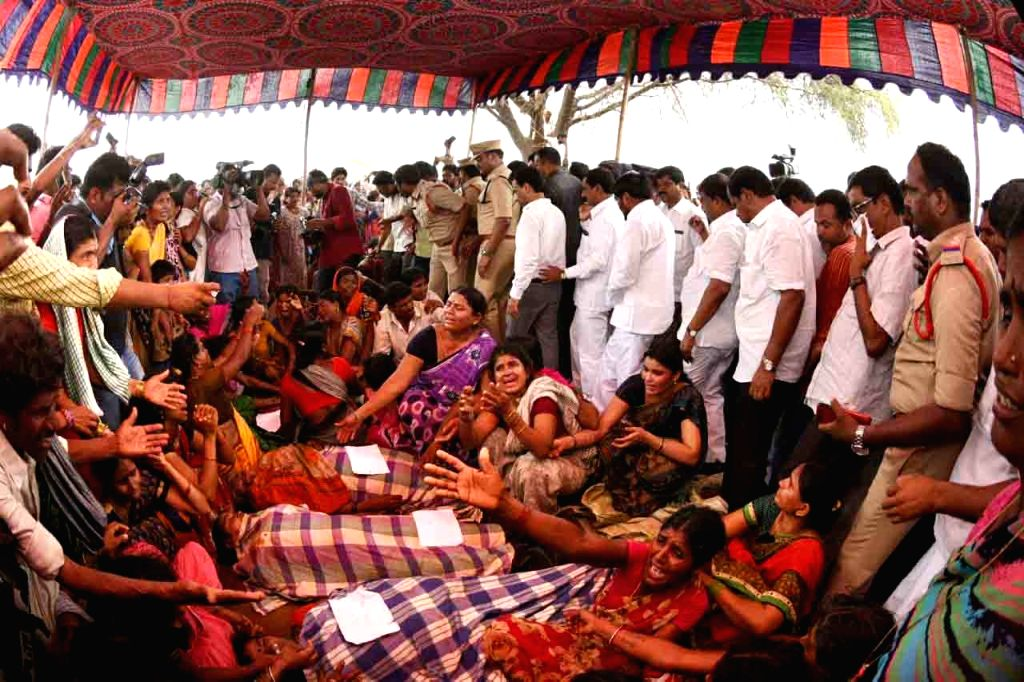 :Vaddipatla: Relatives mourn the death of their family members after Nine agricultural labourers were killed and 15 injured when a tractor plunged into a canal near Vaddipatla in Telangana's ...