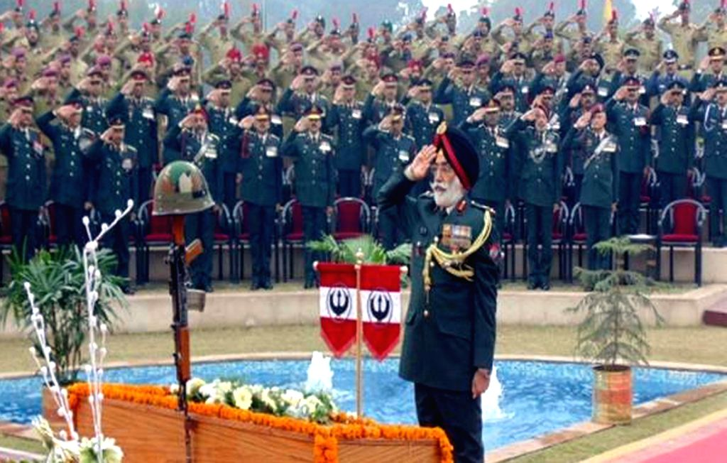 Vajra Corps General Officer Commanding Lt Gen JS Cheema pays homage to martyrs during a programme organised on Army Day at Kapurthala near Jalandhar, Punjab on Jan 15, 2016.