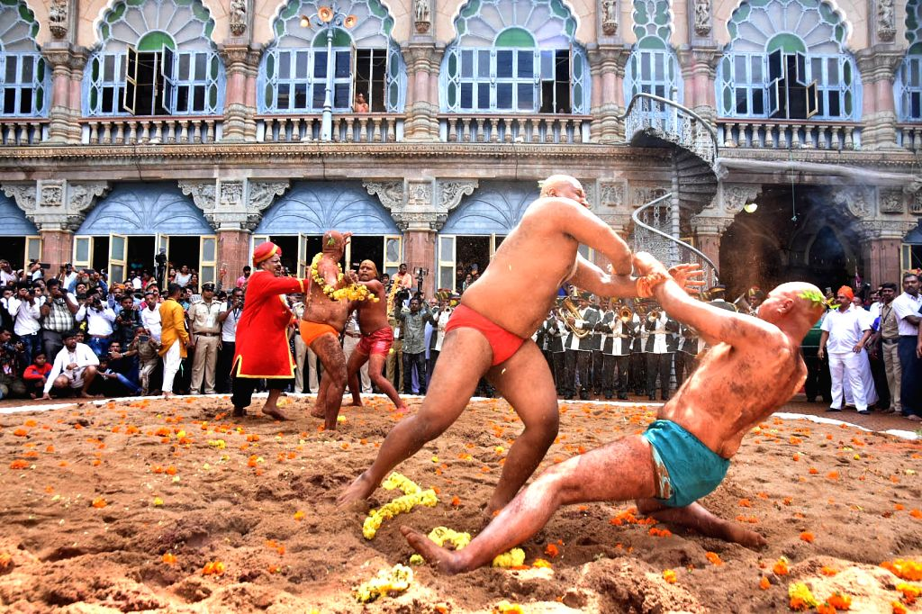 Vajramusti Kalaga' (an ancient form of martial art) organised as part of Dasara celebrations, underway at Mysuru Palace on Oct 8, 2019.