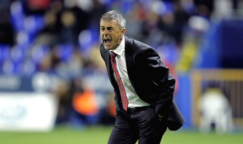 Levante's coach, Lucas Alcaraz, attends his team's Primera Division Liga match against Sevilla held at Ciutat de Valencia stadium in Valencia, Spain, on 07 April 2015. (IANS/EFE/Manuel ...