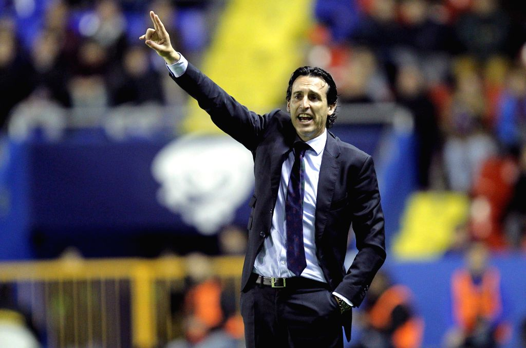 Sevilla's coach, Unai Emery, attends his team's Primera Division Liga match against Levante held at Ciutat de Valencia stadium in Valencia, Spain, on 07 April 2015.