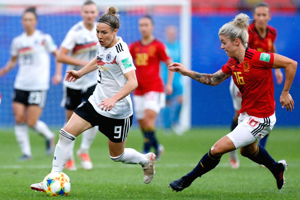 VALENCIENNES, June 13, 2019 - Svenja Huth (L) of Germany competes during the Group B match between Germany and Spain at the 2019 FIFA Women's World Cup in Valenciennes, France, June 12, 2019. Germany ...