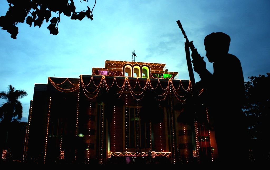Vallabh Bhawan decked-up on the eve of Independence Day in Bhopal, on Aug 14, 2015.