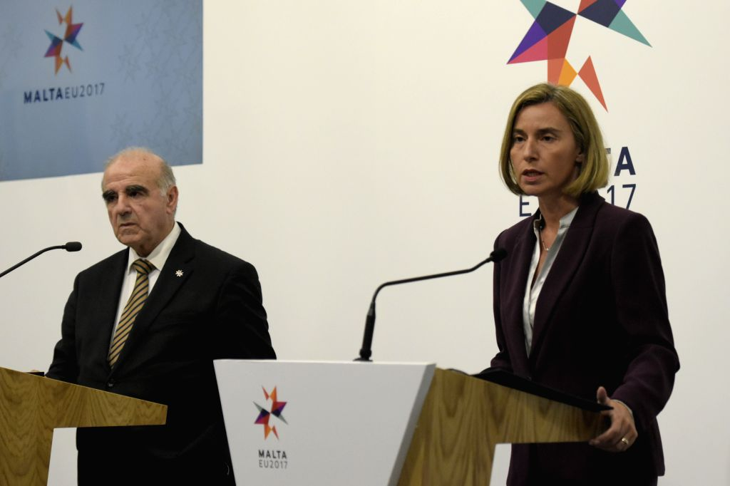 VALLETTA, April 28, 2017 - EU foreign policy chief Federica Mogherini (R) and Maltese Foreign Minister George W. Vella attend a press conference following the EU informal meeting of foreign ministers ... - George W. Vella