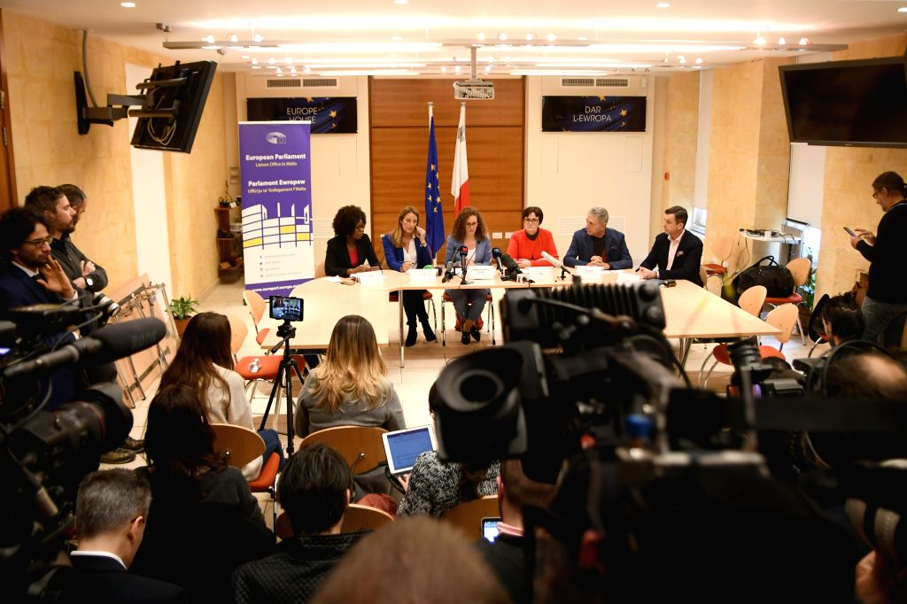 VALLETTA, Dec. 4, 2019 - Members of the European Parliament attend a press conference in Valletta, Malta, on Dec. 4, 2019. A European Parliament delegation expressed on Wednesday its concern at ... - Joseph Musca