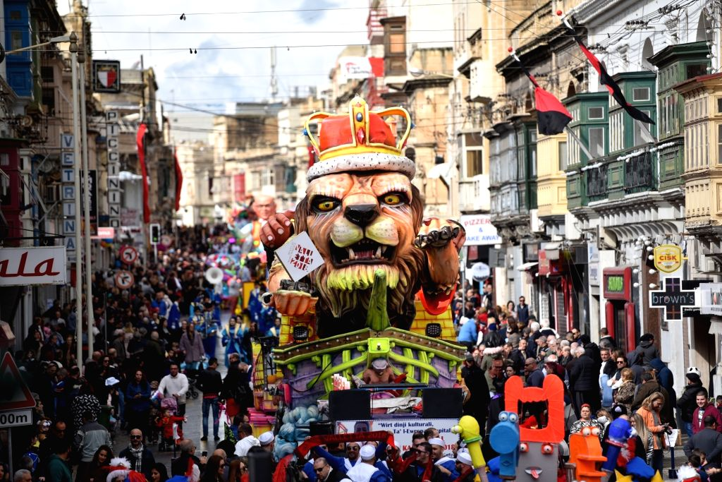 VALLETTA, Feb. 11, 2018 - Festive floats are seen during a carnival parade in Valletta, Malta, on Feb. 11, 2018. Malta carnival 2018 celebrations started on Feb. 3 and will last till Feb. 13.