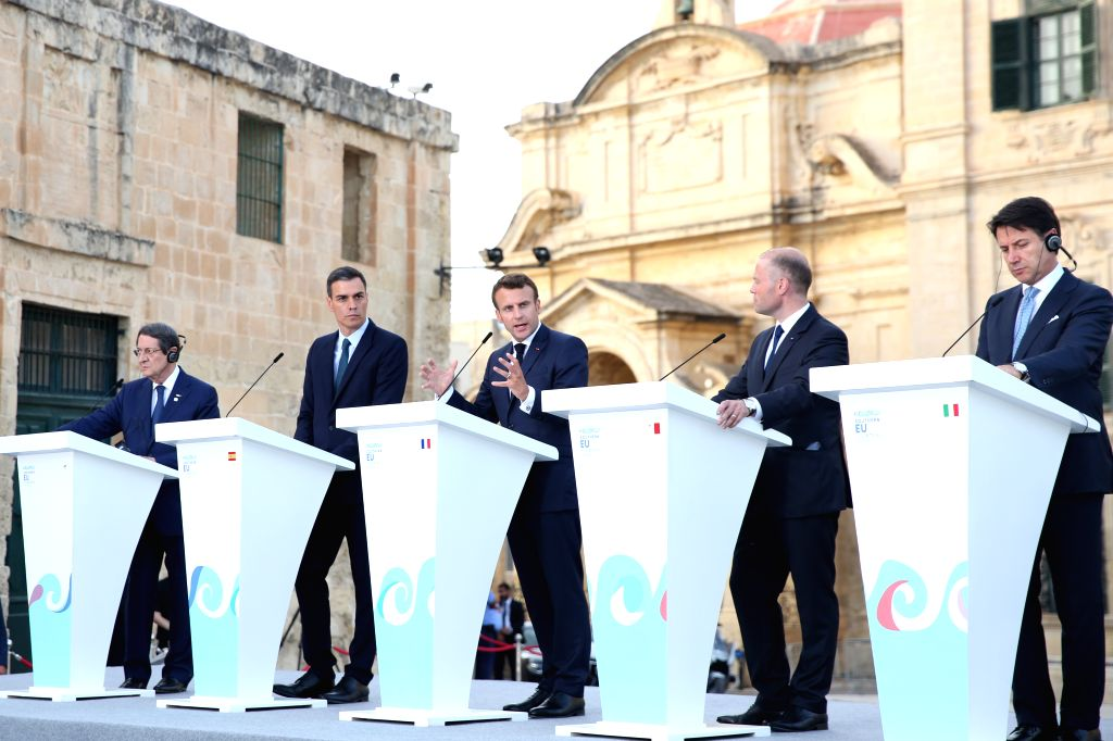 VALLETTA, June 15, 2019 - French President Emmanuel Macron(C) delivers a speech at the  joint press conference in front of the Auberge De Castille at Valletta, capital of Malta, on June 14, 2019. ...