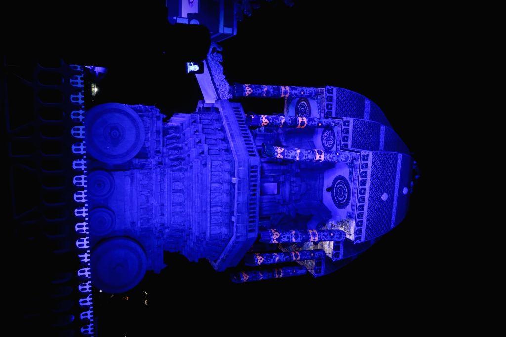 Valluvar Kottam lit up in blue lights on the eve of World Diabetes Day in Chennai on Nov 13, 2019.