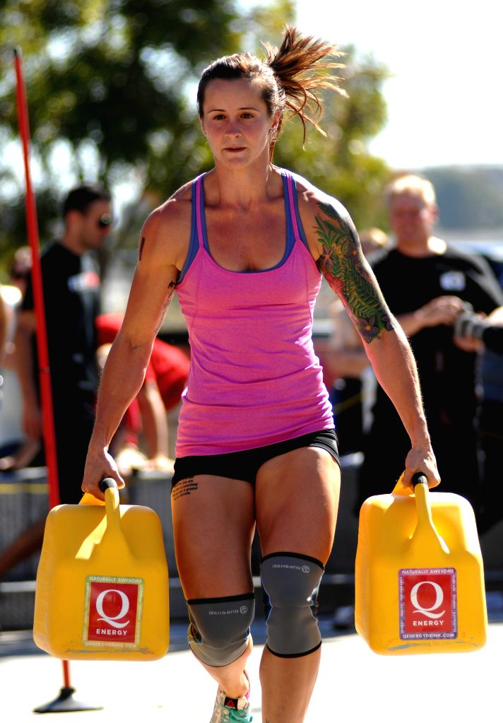 A female athlete competes at the annual FemSport Women's All Strength & Fitness Challenge in North Vancouver, Canada, on Sept. 6, 2014. This unique annual ...
