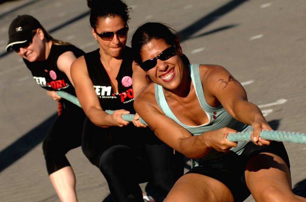Azar Vigeh (R) competes at the annual FemSport Women's All Strength & Fitness Challenge in North Vancouver, Canada, on Sept. 6, 2014. This unique annual ...