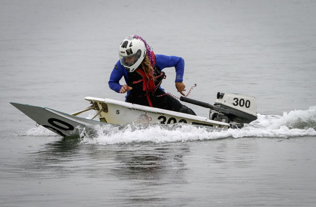 VANCOUVER, Aug. 11, 2019 - A rider competes in his bathtub boat during the Bathtub Races at Kitsilano Beach in Vancouver, Canada, Aug. 10, 2019.