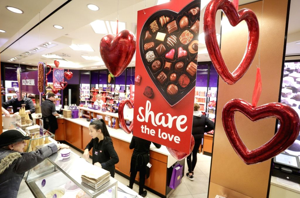 VANCOUVER (CANADA), Feb. 13, 2018 A candy shop is seen with Valentine-themed decorations in Vancouver, Canada, on Feb. 13, 2018. Chocolate retailers in Vancouver prepared a variety of ...