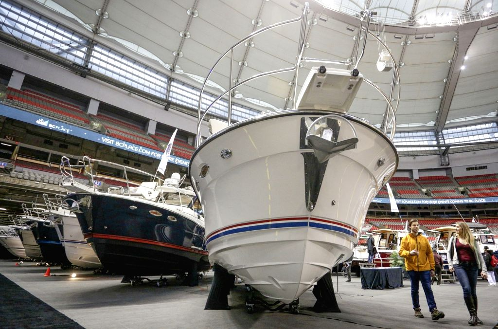 VANCOUVER, Jan. 18, 2018 - People visit the 56th Vancouver International Boat Show in Vancouver, Canada, Jan. 17, 2018. The 5-day 56th Vancouver International Boat Show opened here on Wednesday with ...