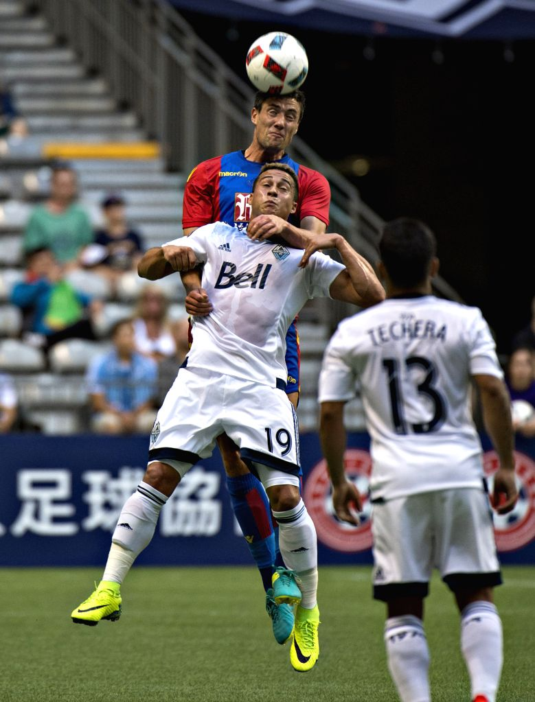 VANCOUVER, July 20, 2016 - Martin Kelly (Top) of Crystal Palace heads the ball during the international friendly soccer match against Vancouver Whitecaps FC at BC Place in Vancouver, Canada, on July ...