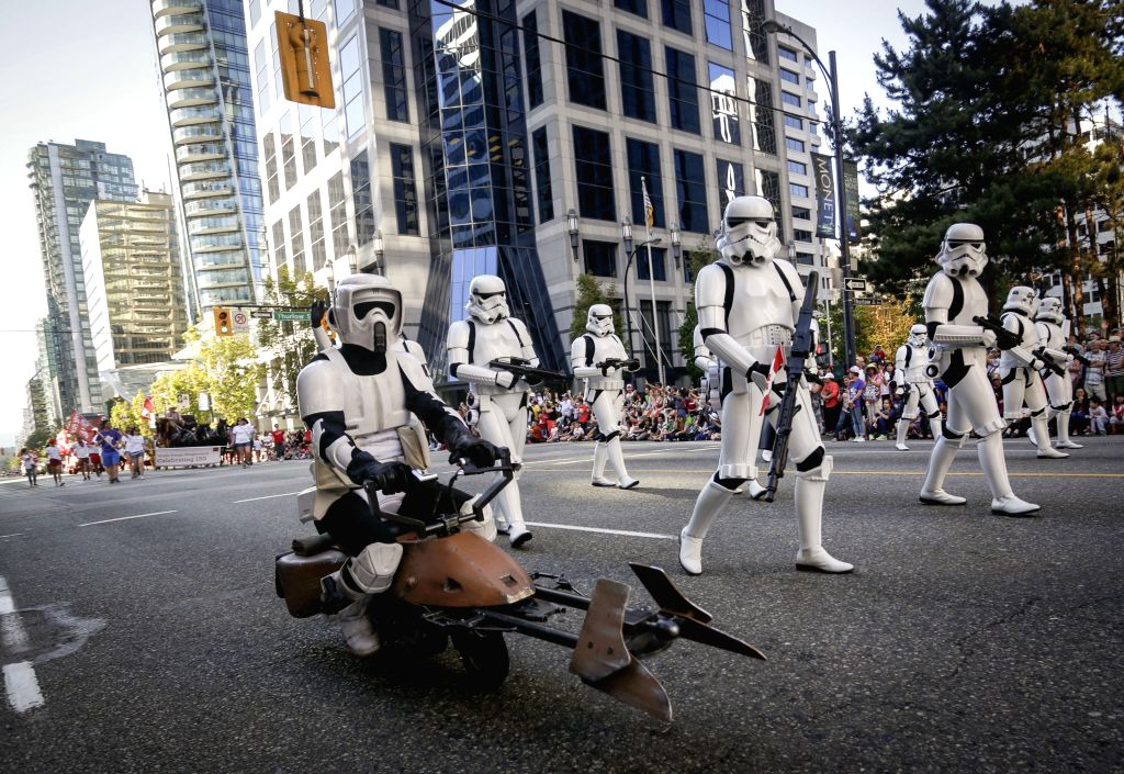 VANCOUVER, July 3, 2017 - Performers dressed like 'Star Wars' characters march at the 2017 Canada Day Parade in Vancouver, Canada, July 2, 2017. About 2,000 participants in different traditional ...