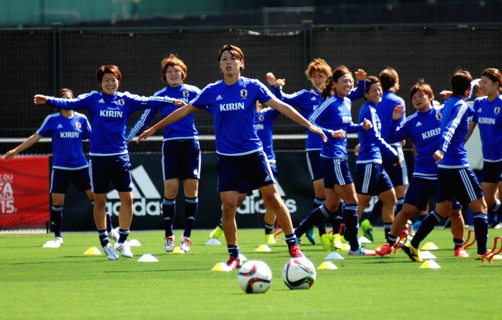 Players of Japan attend a training session in Vancouver, Canada on June 10, 2015. Japanese women's national soccer team will play Cameroon in the Group C match of ...