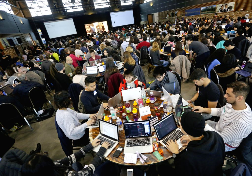 "VANCOUVER, March 12, 2017 - People learn how to code during the 4th annual ""HTML500"" event held in Vancouver, Canada, March  11, 2017. The ""HTML500"" is the largest learn-to-code ..."