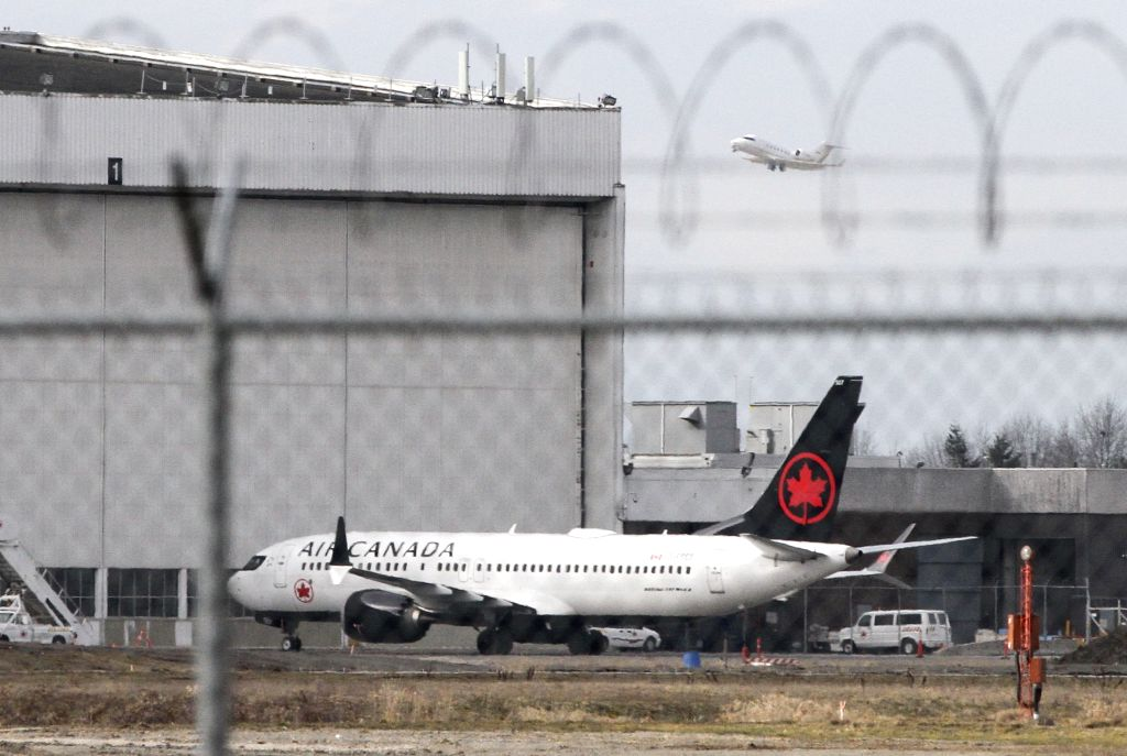 VANCOUVER, March 13, 2019 - An Air Canada Boeing 737 Max 8 aircraft is seen at a maintenance building at Vancouver International Airport in Richmond, Vancouver, Canada, March 13, 2019. Canada is ...