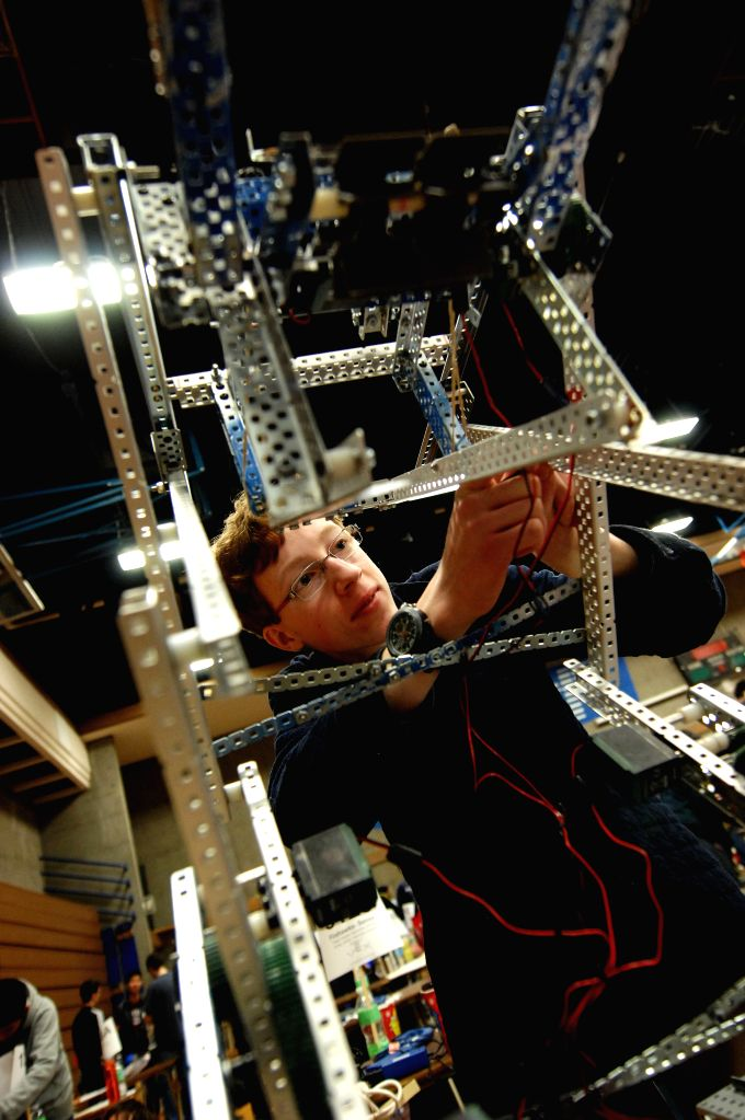 A student takes part in the 2015 VEX Robotics Competition in Burnaby, Canada on March 6, 2015. Students from over 98 high-schools across North America competed in ...