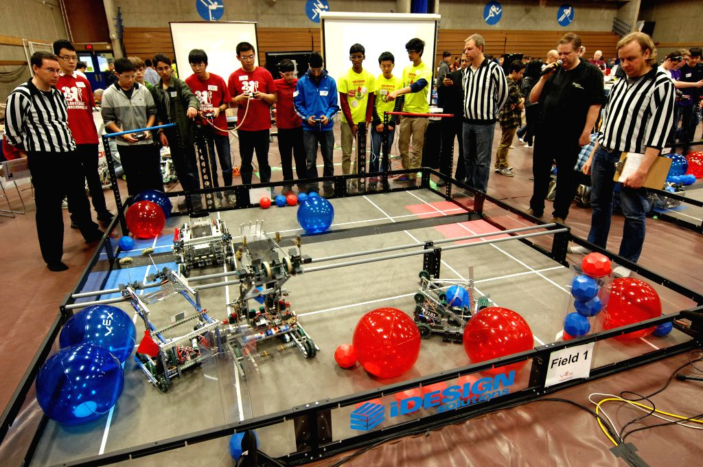 Students take part in the 2015 VEX Robotics Competition in Burnaby, Canada on March 6, 2015. Students from over 98 high-schools across North America competed in ...