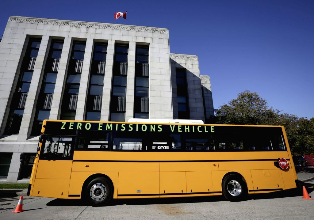 VANCOUVER, Oct. 6, 2017 - A purpose-built all-electric school bus is seen in the street in Vancouver, Canada. Oct. 5, 2017. A Vancouver-based bus manufacturer, GreenPower Motor Company, is hitting ...