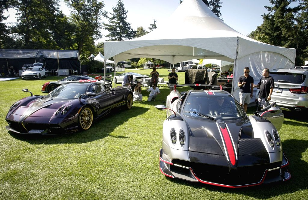 VANCOUVER, Sept. 6, 2019 - Pagani Huayra Roadsters are displayed during the media preview of the 10th annual Luxury and Super Weekend show in Vancouver, Canada, on Sept. 6, 2019. The 10th Luxury and ...