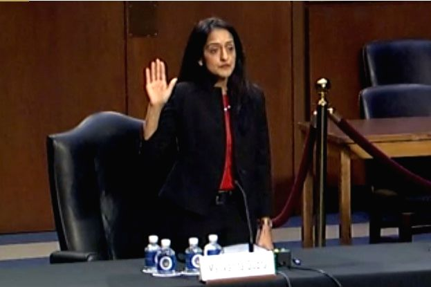 vandana Gupta 0309.jpg: Vanita Gupta, the nominee for associate attorney-general, is sworn in for her testimony  on Tuesday, March 9, 2021 before the Senate Judiciary Committee that is holding hearings for her confirmation to the post. (Photo: Senate - Vanita Gupta