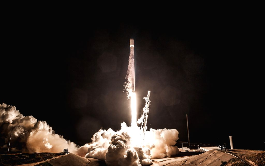 VANDENBERG AIR FORCE BASE, Feb. 23, 2018 (Xinhua) -- A Falcon 9 rocket is launched with Spain's PAZ, a radar-imaging satellite, and two SpaceX test satellites for global broadband at Vandenberg Air Force Base in California, the United States, Feb. 22
