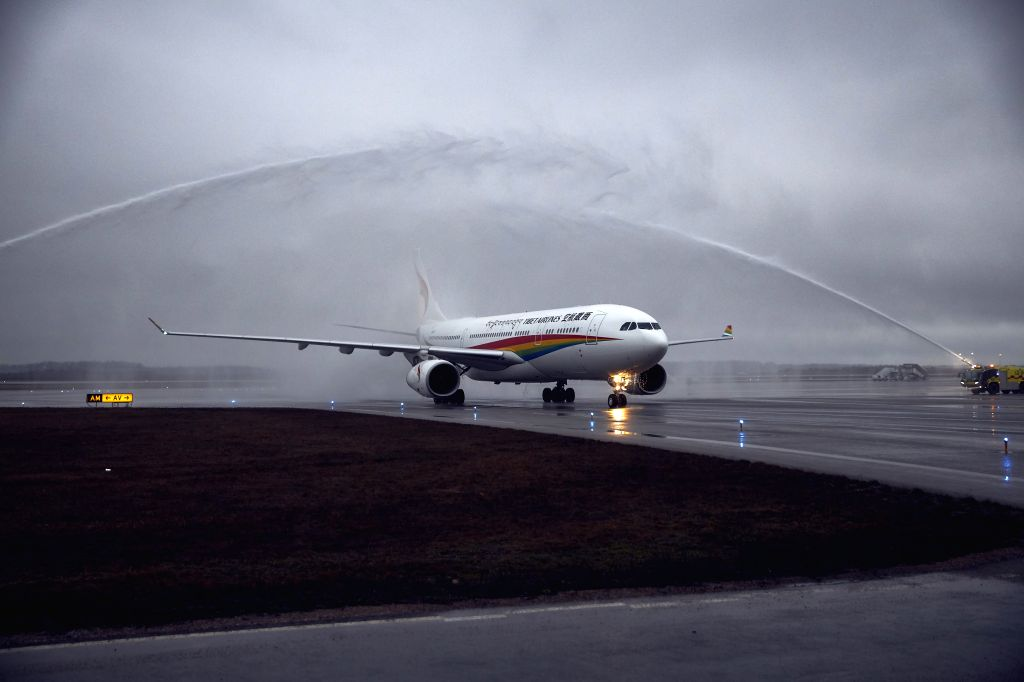 VANTAA, April 9, 2019 - Tibet Airlines' inaugural flight from Jinan, the capital city of eastern China's Shandong Province, lands at the Helsinki-Vantaa International Airport in Finland, April 8, ...