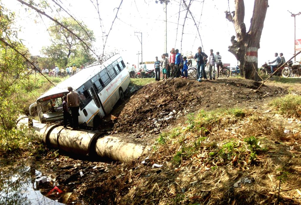 A bus that met with an accident near Varanasi on April 14, 2015.