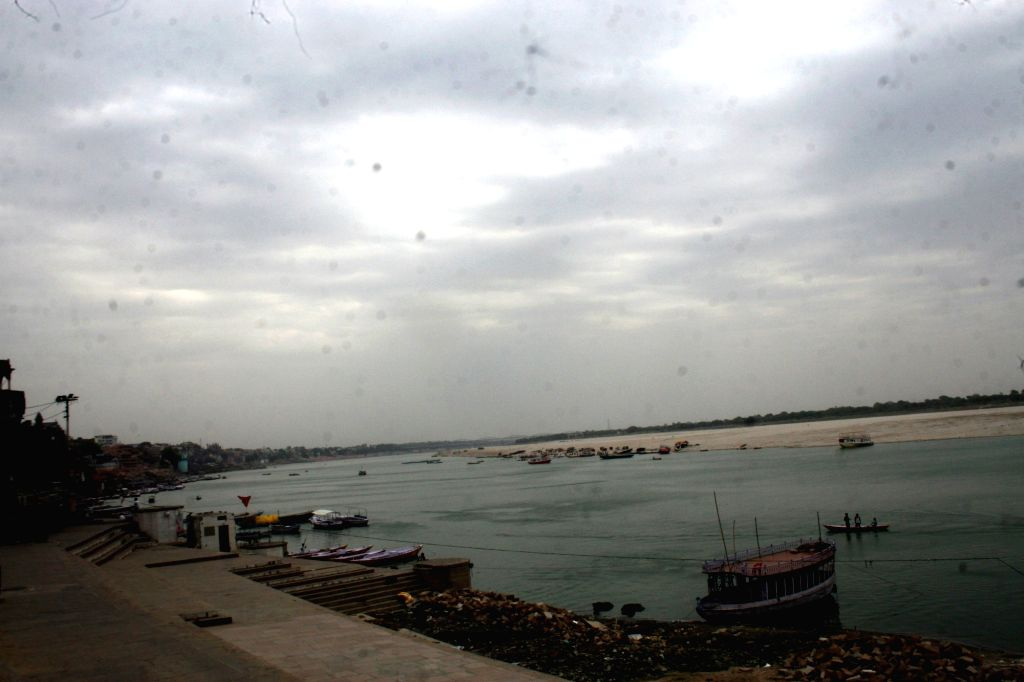 Varanasi: A view of the Ganga river on an overcast day, in Varanasi on June 19, 2019. (Photo: IANS)