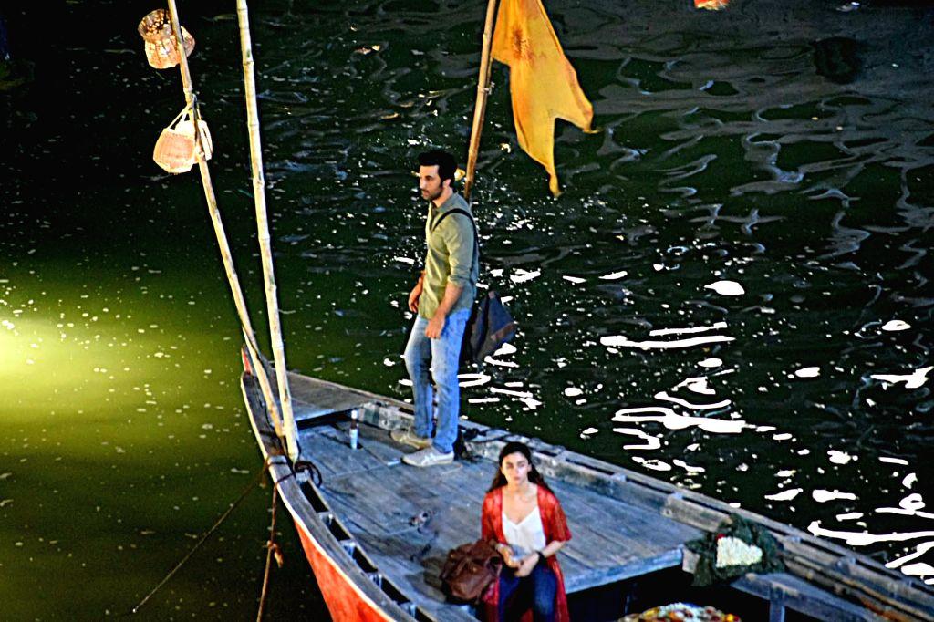 "Varanasi: Actors Ranbir Kapoor and Alia Bhatt during the shooting of their upcoming film ""Brahmastra"" at Dashashwamedh Ghat in Varanasi on June 2, 2019. (Photo: IANS) - Ranbir Kapoor and Alia Bhatt"