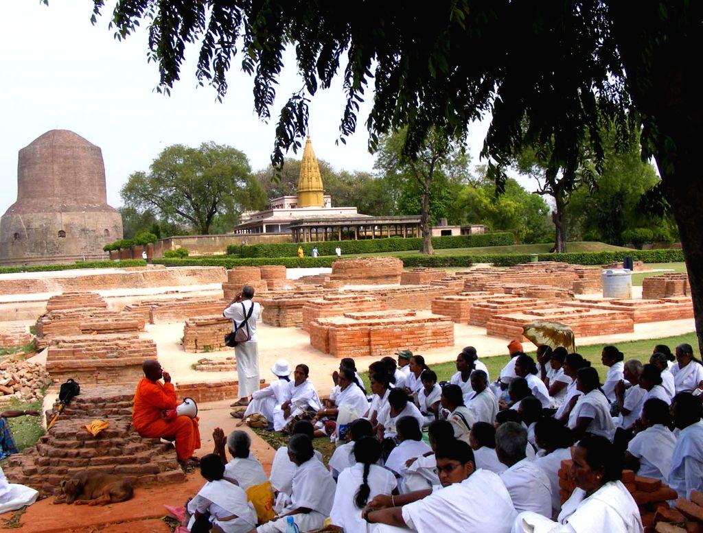 Buddhists visit Sarnath on Buddha Purnima, near Varanasi on May 4, 2015.