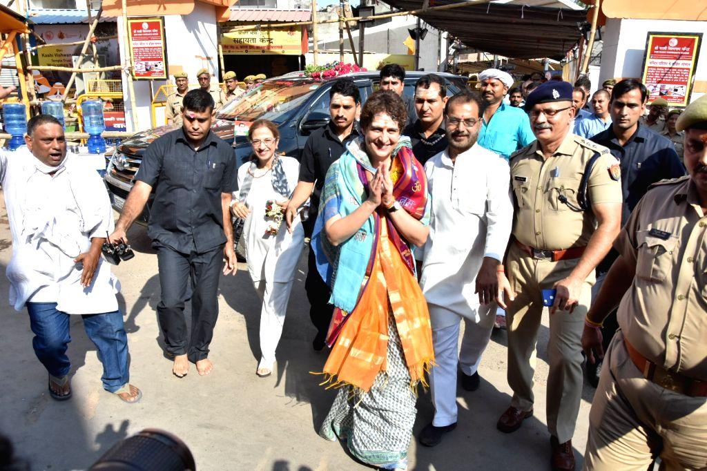 Varanasi: Congress General Secretary Priyanka Gandhi Vadra arrives to offer prayers at the Kashi Vishwanath Temple in Varanasi, on July 20, 2019. (Photo: IANS)