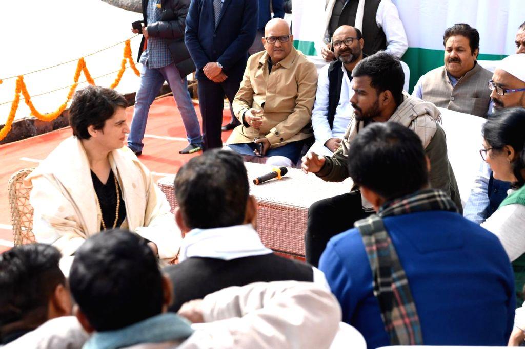Varanasi: Congress General Secretary Priyanka Gandhi Vadra meets the students of Banaras Hindu University (BHU) and civil society members, in Varanasi on Jan 10, 2020. (Photo: IANS)