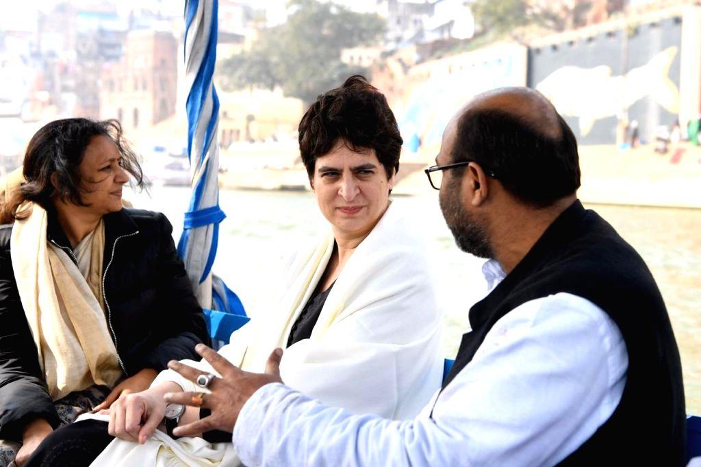 Varanasi: Congress General Secretary Priyanka Gandhi Vadra reaches Varanasi to meet the students of Banaras Hindu University (BHU), on Jan 10, 2020. (Photo: IANS/NSUI)