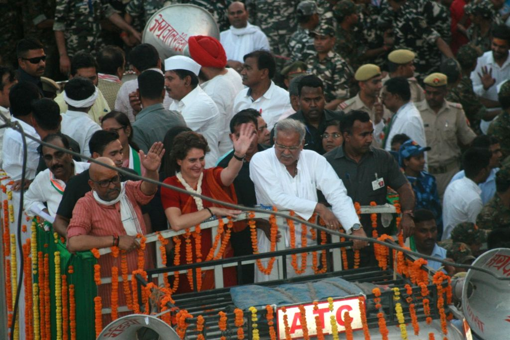 Varanasi: Congress leader Priyanka Gandhi Vadra with Congress' candidate for Varanasi Lok Sabha seat Ajay Rai and Chhattisgarh Chief Minister Bhupesh Baghel during a road show in Varanasi on May 15, 2019. (Photo: IANS) - Bhupesh Baghel, Priyanka Gandhi Vadra and Ajay Rai