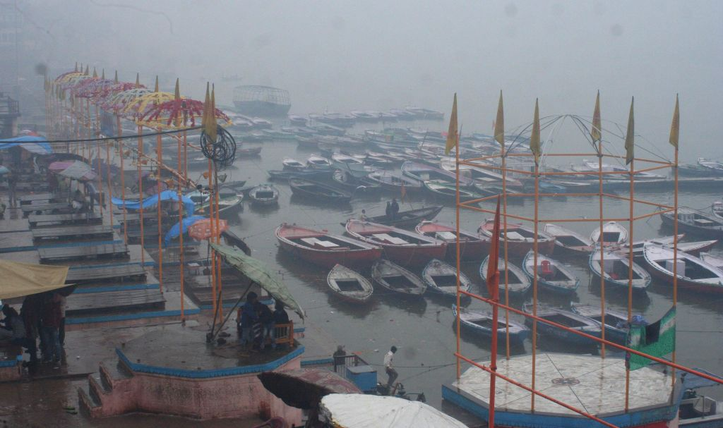 Deserted look of Dasasomedh Ghat on a rainy day in Varanasi on Jan. 3, 2014.