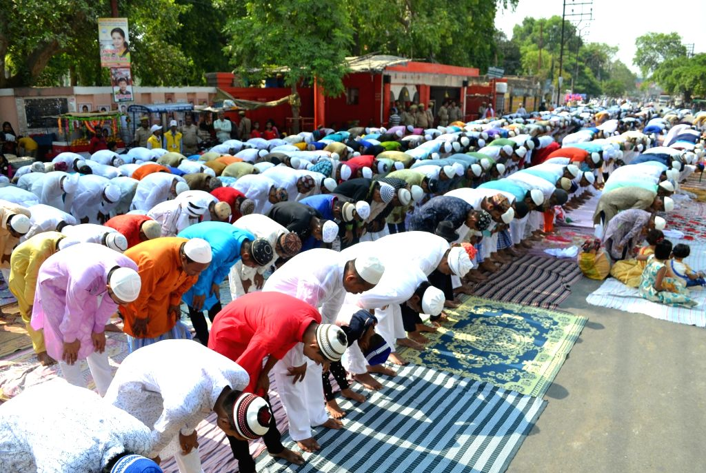 Varanasi: People offer Eid-ul-Fitr namaz in Varanasi on June 5, 2019. (Photo: IANS)