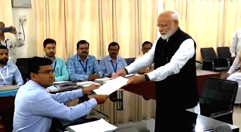 Varanasi: Prime Minister and BJP Lok Sabha candidate from Varanasi, Narendra Modi files his nomination for the forthcoming Lok Sabha polls, in Varanasi, on April 26, 2019. (Photo: IANS) - Narendra Modi