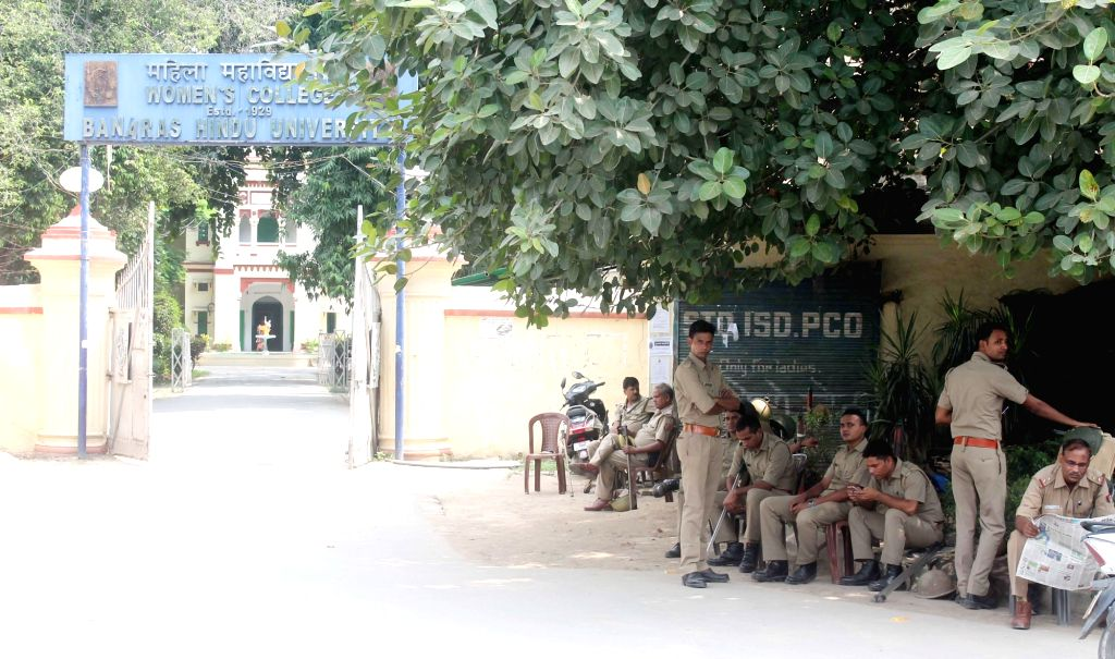 Varanasi: Security beefed up outside the Banaras Hindu University (BHU) after police lathi-charged the students of the Banaras Hindu University (BHU) while they were agitating against the molestation of a student inside the campus in Varanasi on Sept