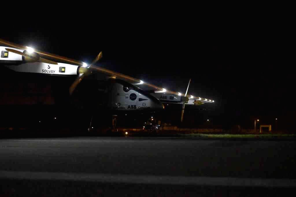 Solar Impulse 2 arrives in Varanasi on March 18, 2015.