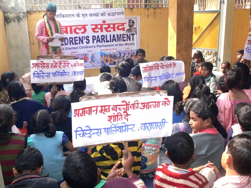 The members of the Children's Parliament -being run with the support of Vishal Bharat Sansthan, a right-wing social organisation  - during an emergency session of the parliament (Children's